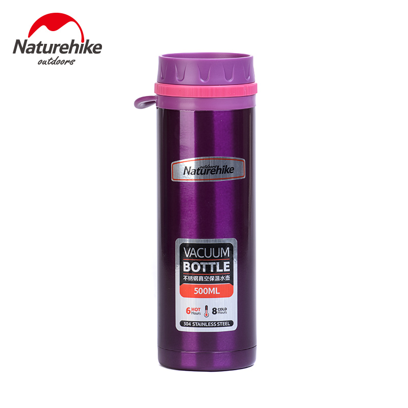 Naturehike B02 Vacuum Flask 500ML Outdoor Cup Double Wall Vacuum Insulated Stainless Steel Sport Water Bottle for Camping/Travel