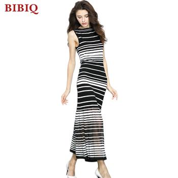 De Negro Y Mangas Diseño Sin Blanco Nuevo A Rayas Vestido Señoras n0wOPk