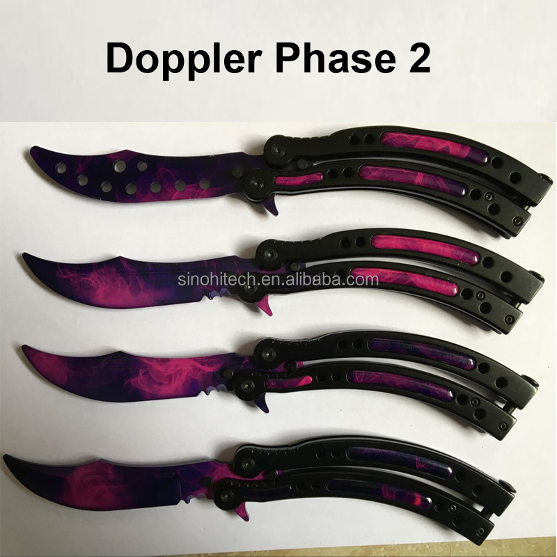 New Color Skin CS GO Butterfly Trainer,Doppler Phase 2 CS GO Balisong Knife