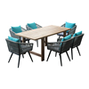 Patio dining furniture rope chair and teak wood table set