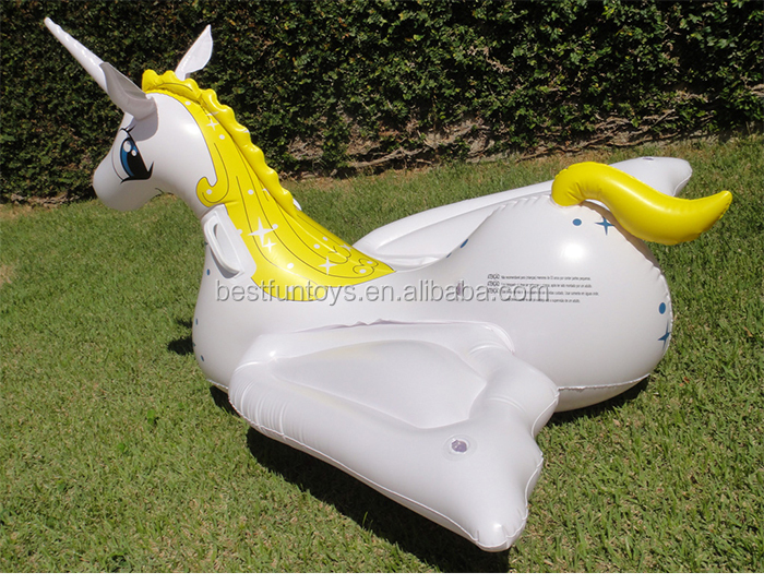 High Strength Plastic Large Inflatable Unicorn Pegasus Blown Up Pool Lake  Float Seat Water Games Toys