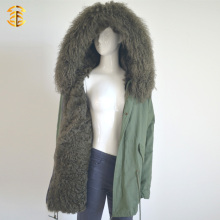 Dark green mongolian collar and matched lamb lining winter fur jacket parka
