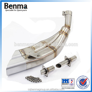 Stainless Steel Double Air Exhaust Pipe 250cc Motorcycle Scooter Exhaust Pipe Muffler