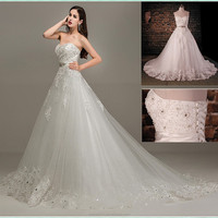 2017real photo Elegant A-line Appliques Sweetheart Sleeveless Floor-length Empire Princess lace wedding dresses WD1645