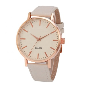 fashionable women alloy quartz wrist watch elegent pink color gold case pu leather strap