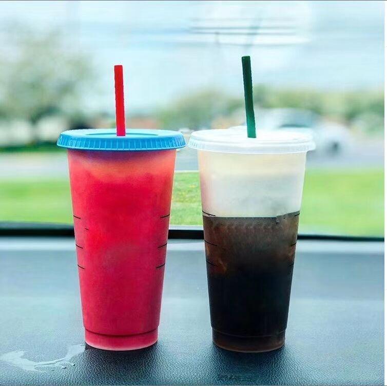 2019 новый дизайн пластиковые красочные стакан чашки, холодный кофе изменение цвета кружка с соломой и крышкой