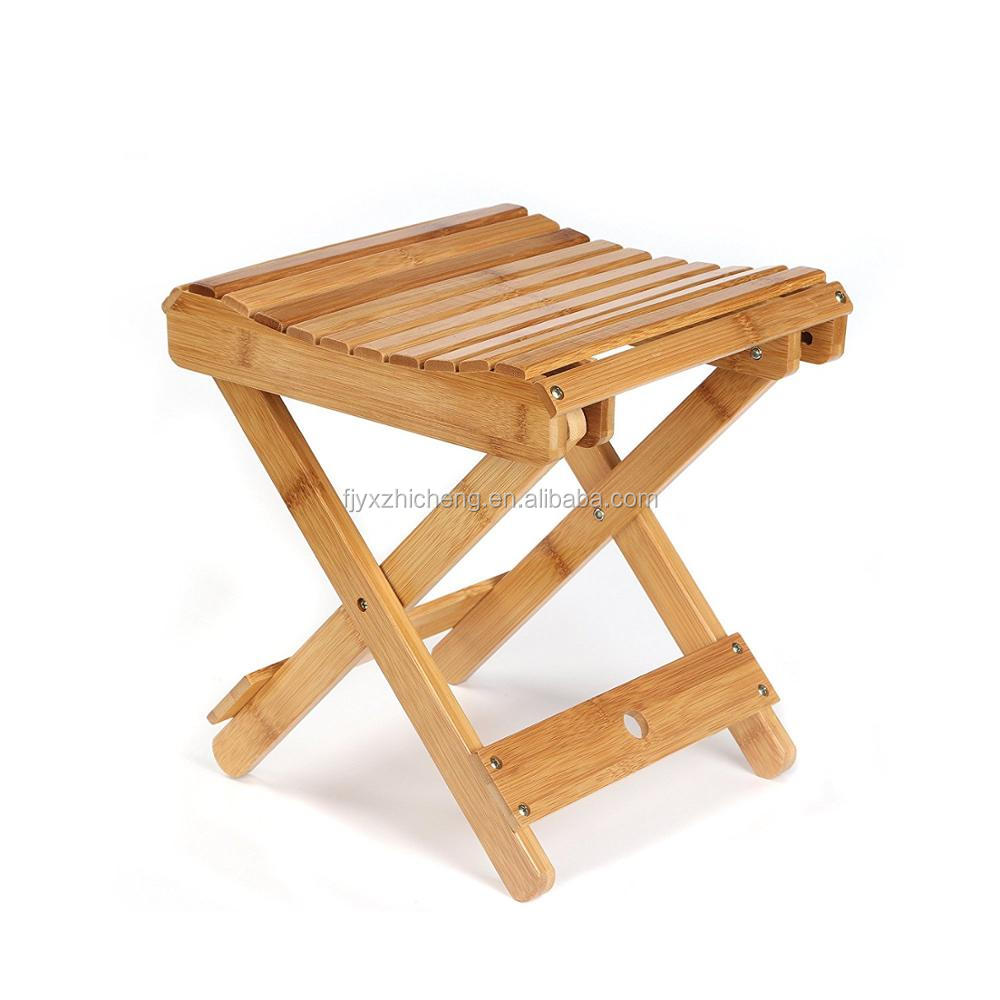 Eco Friendly Bamboo Folding Stool Bathroom Seat For Shaving Shower Foot Rest