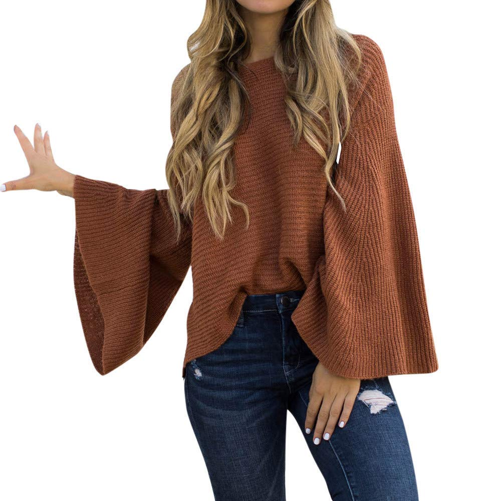 Womens Tops and Blouses Womens Solid Plus Size Long Sleeve Fashion Knitting Tops Flare Sleeve Sweater Blouse