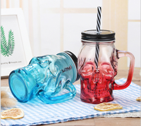 500ml Creative skeleton glass water bottle with handle wholesale
