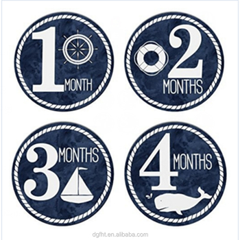 "Baby Monthly Stickers-Milestone Month Sticker for Onesie or Scrapbook - 4"" Sticker for Your Boy or Girl First Year Growth"