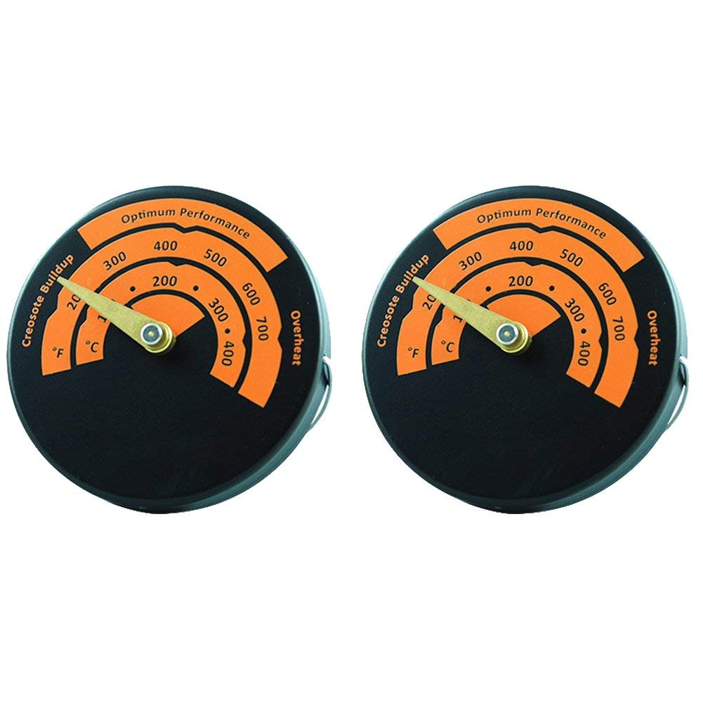 Magnetic Stove Pipe Thermometer Oven Temperature Meter for Wood Burning Stove & Multi-Fuel Stoves (2pcs)