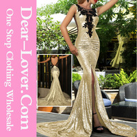 Gold Sequin Split Front Women Formal Night Party Prom Dresses Malaysia