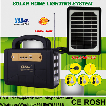 Portable mini home solar lighting system with FM radio AT-9006A solar lighting kits