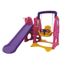Colorful children indoor plastic slide and swing playground toys equipment for sale
