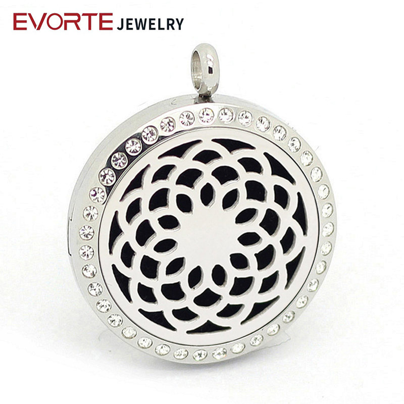 Hot sale 316l stainless steel silver perfume locket pendant with crystals