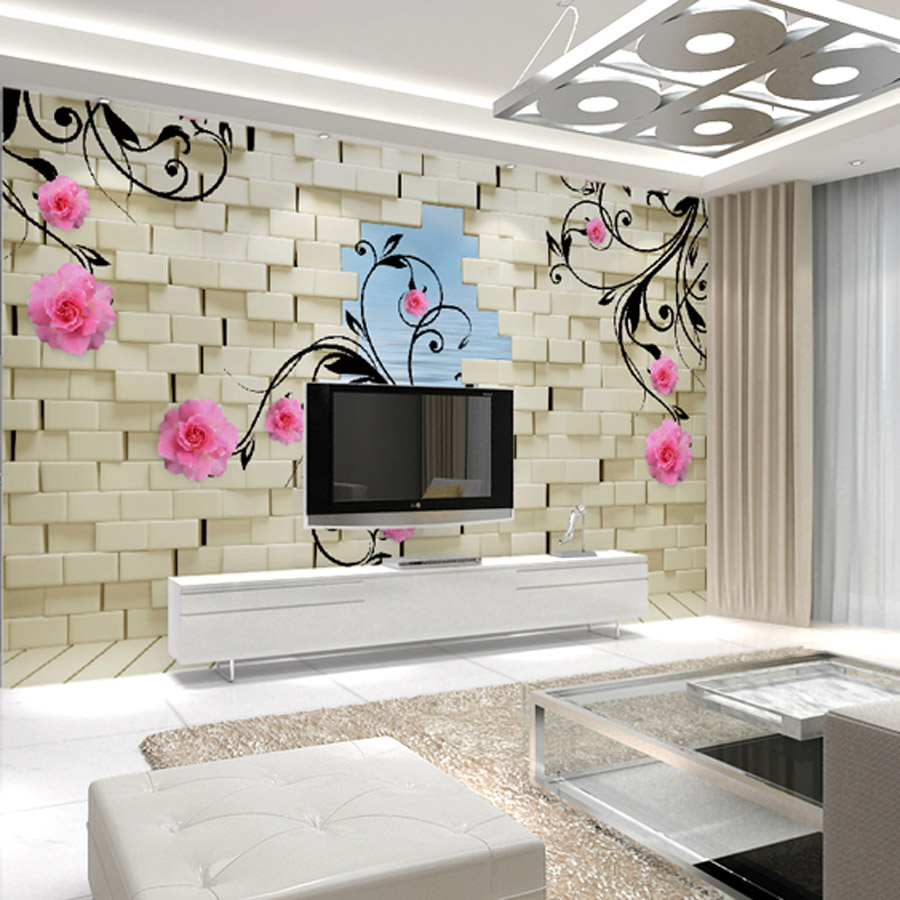 Custom flower painting the living room tv backdrop - Wall covering ideas for living room ...