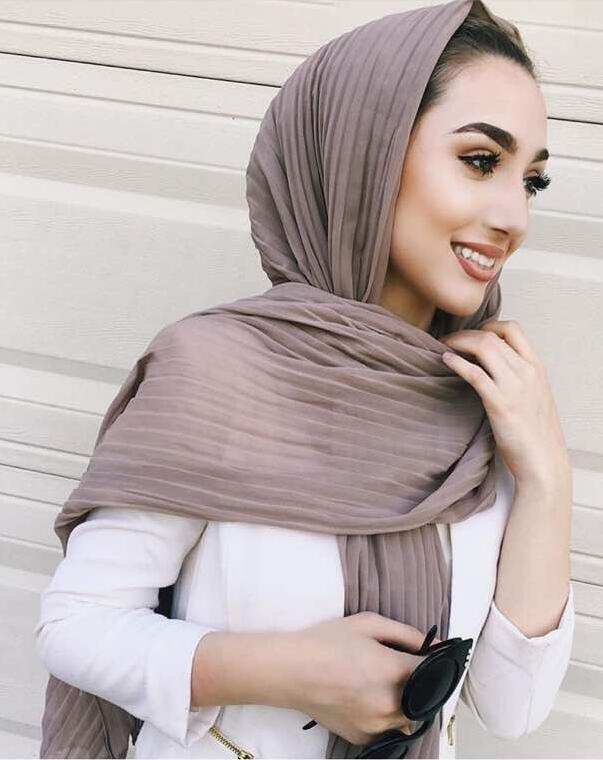 Newest Style Plain Solid Color Crinkle Chiffon Hijab Oversized Muslim Long Shawl Wraps Crumple Pashmina
