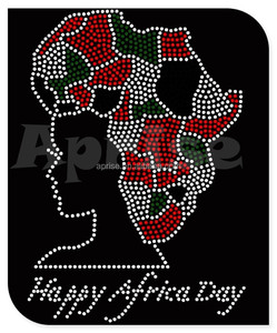 Chinese hot fix rhinestones Happy Africa Day design motif