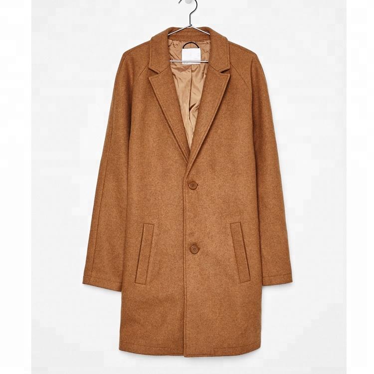 Men's wild wool coat solid color collar collar long coat