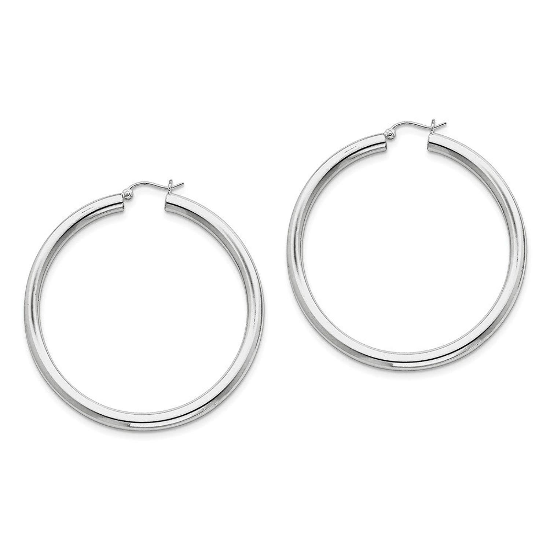Best Designer Jewelry Sterling Silver Rhodium-plated 4mm Round Hoop Earrings