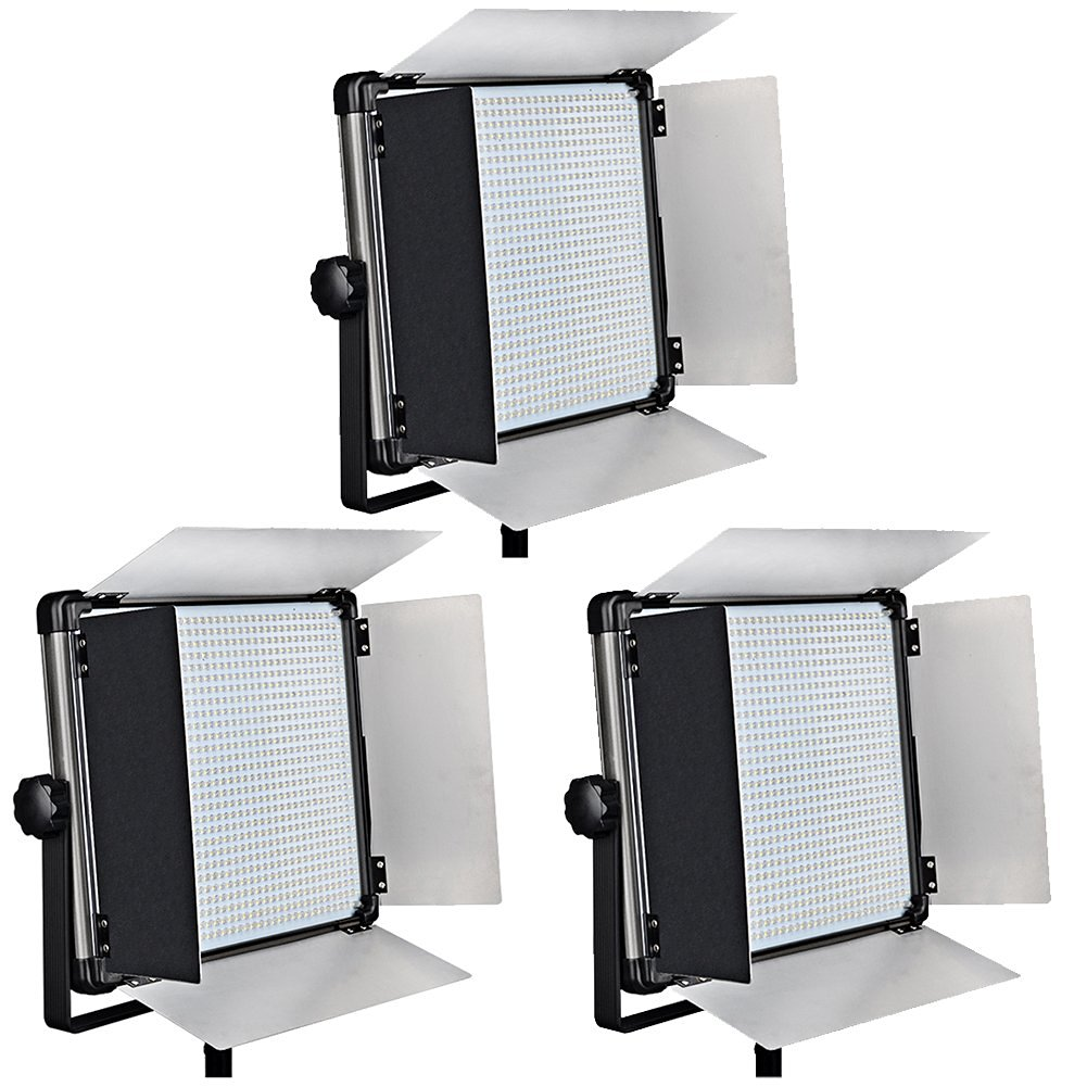 Idobol (Set of 3) High Power D-1080 Dimmable Super Bright 1004 LED Light Panel for Film, 80W 7000 Lumen Video and Photography Studio Lighting Kit - Continuous 3200K-5600K Bi Color