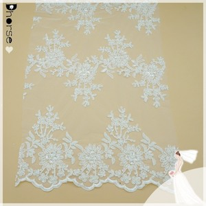 2015 New Design White Tulle Embroidered Bridal Corded Beaded Lace Fabric