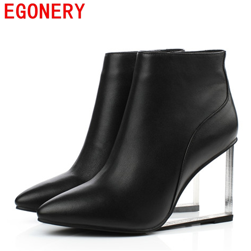 EGONERY shoes 2017 transparent wedges ankle boots pointed ...