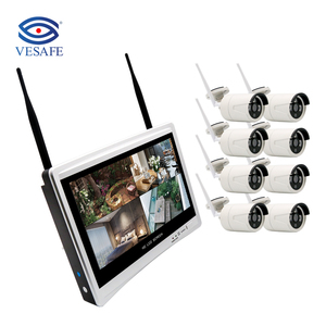 "VESAFE CCTV 8CH 1080P Wireless NVR Kits with 12"" LCD Wifi Nvr Kit Wireless Wifi IP Camera Kit"