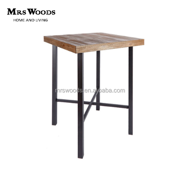 Vintage Style Cafa Table Metal Frame 4 Leg Wood Square Bar