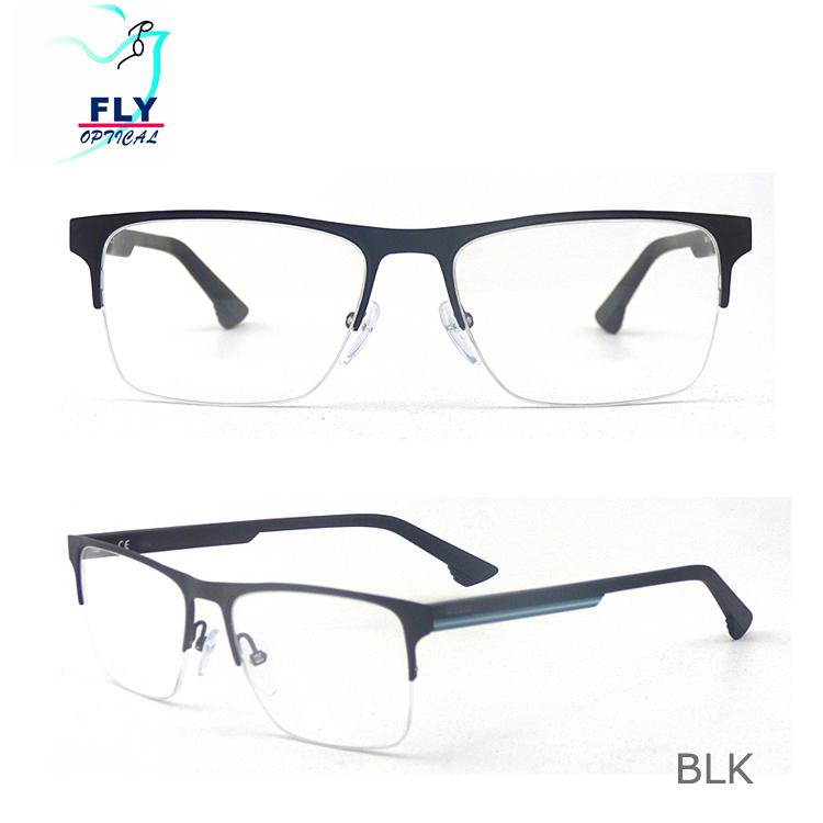 51be097c3a4 Dernière conception vente chaude homme gentleman carrée Demi-Cadre optique  lunettes de vue ...