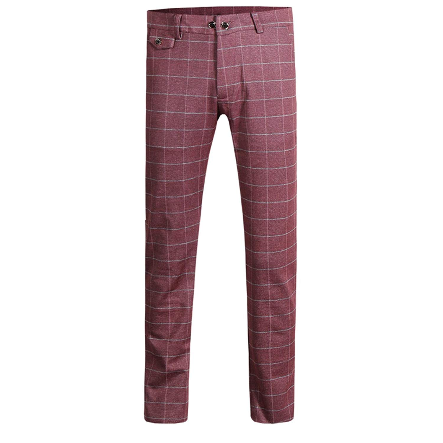 829053d8e Get Quotations · Cloudstyle Mens Pants Slim Fit Flat Front Plaid Dress  Tapered Suit Pants