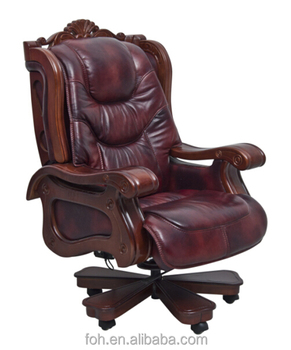 Ordinaire Brown King Antique Genuine Leather Reclining Executive Rolling Chair Senior  Executive Office Chair FOH A01