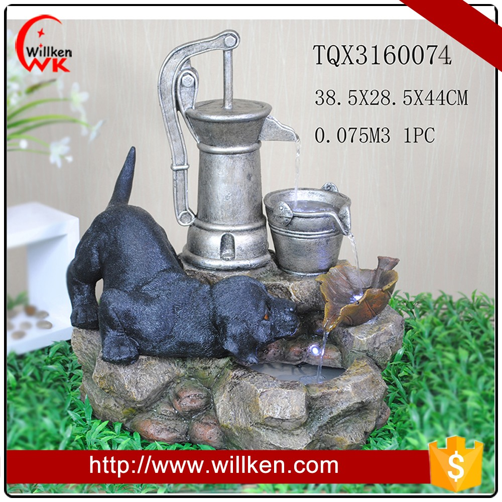 ppolyresin puppy and pots mini waterfall fountain for sale