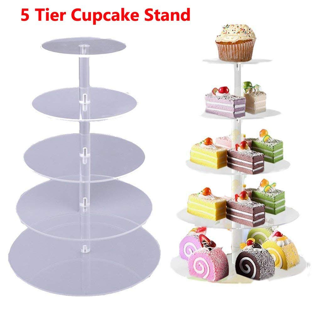 Benlet 5 Tier/6 Tier/7Tier Round Crystal Clear Acrylic Cupcake Stand Display Cake Tower for Wedding Birthday Party (5-Tier Stand)