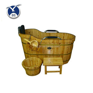 Factory price reliable chinese top grade cheap waterproof durable natural Color wooden bathtub
