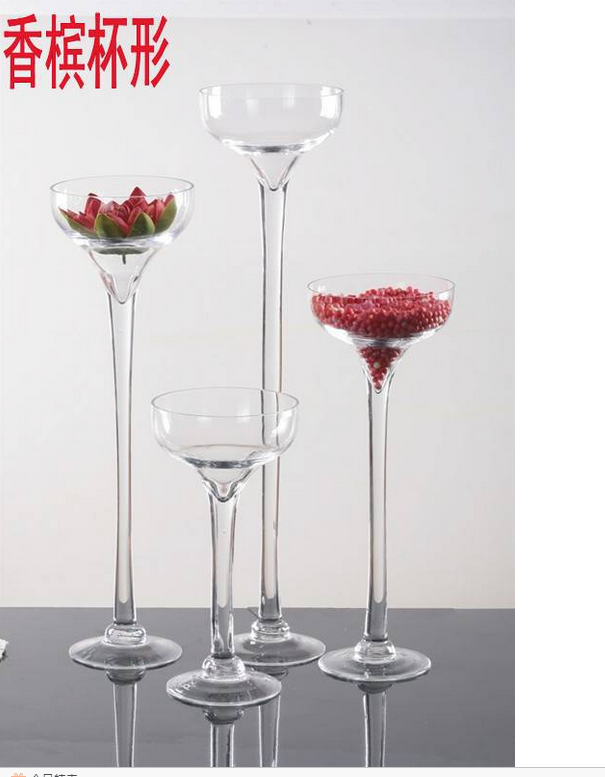 Giant wine champagne glass vase with long stem for home for Decoration vase martini