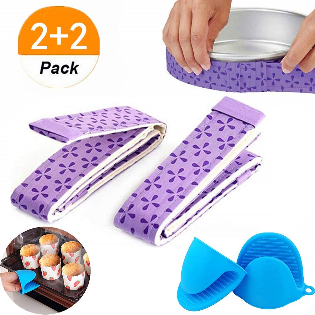 JeVenis (4 Piece) Bake Even Strip Cake Pan Dampen Strips Super Absorbent Thick Cotton with Silicone Pinch Mitts Heat Resistance Hot Handle Holder Cooking Nonslip Grip Frozen Ice for Home Kitchen Bar
