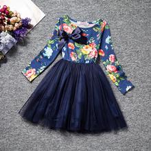 Casual emenda do bebê vestido da menina flor do Vintage para 6 ano de aniversário Chrinstening vestido criança de manga comprida batismo Lot Floral vestido