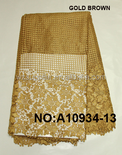 Gold African Cord Guipure Lace Fabric With Beads For Nigerian Party