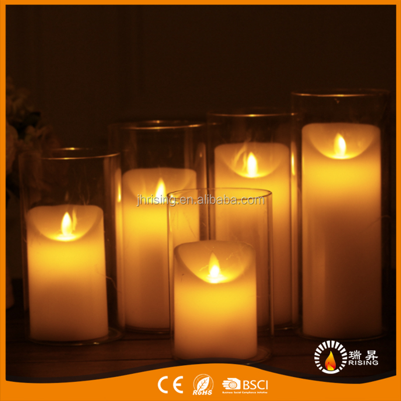 Artificial Realist Moving Real Flame LED Pillar Candles With Battery Operated Control Function