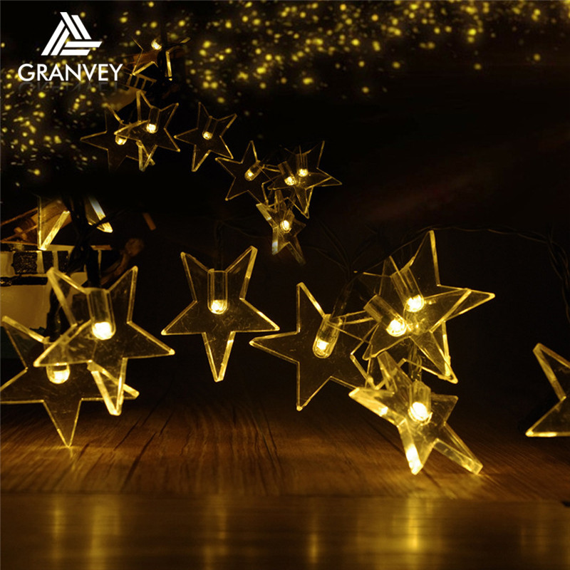 LED Holiday decorative bright star string outdoor solar christmas star light