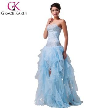 Grace Karin Wholesale Beaded Organza Short Front Long Back Prom ...