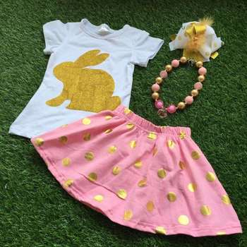 2016 New Baby Ester Day Gold Bunny Short Sleeves Sets Girls Easter Outfits Dress Set Kids Summer Outfits With Accessories - Buy ...