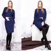 Wholesale Alibaba long sleeve Jacquard Panel Navy Blue ladies official dresses