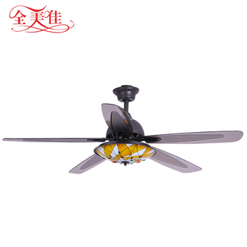 European Style warm yellow light 56 inch 220 volt ceiling fan with remote control