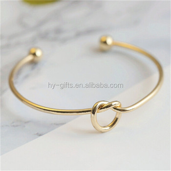 Fashion Cuff Gold Bracelet Simple Design Uni Stainless Steel Knot