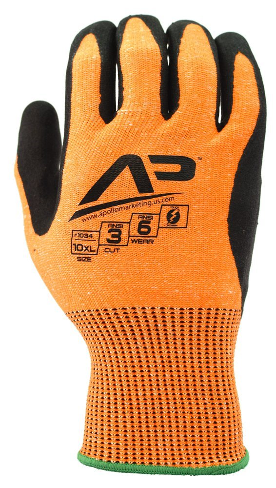 Apollo Performance Work Gloves 1031, Tool Grabber Cut Protect 3, Cut Resistant Glove, 13 Gauge HPPE Knit, Triple Polymer Hybrid Grip, Touch Screen Capabilities with Lightning Touch Technology, ANSI Cut Level 3, 1 Pair, Small, Hi Vis Orange