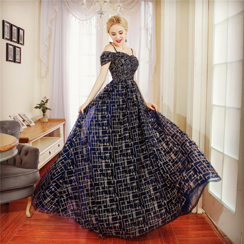 Grosir A-line Lace Bead Bordir Evening Dress Party Dress