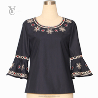 2017 High quality New design Women's Blue Round-neck Embroidery Style Poplin Blouse Bell Sleeve ladies casual tops Blouse