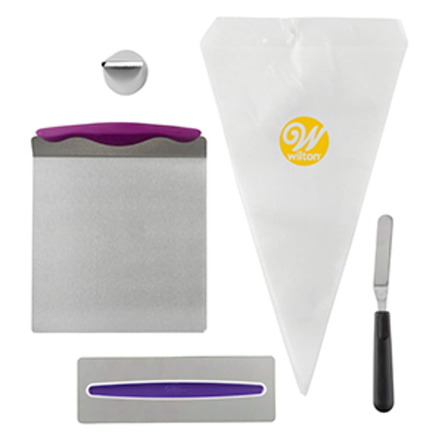Wilton Cake Decorating Kit for Beginners - Lifter, Spatula, Icing Tip/Smoother, and Disposable Decorating Bags